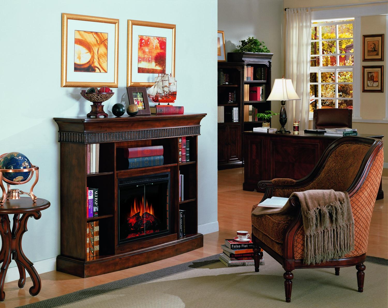 Westbury burnished walnut bookcase electric fireplace 23 inc.